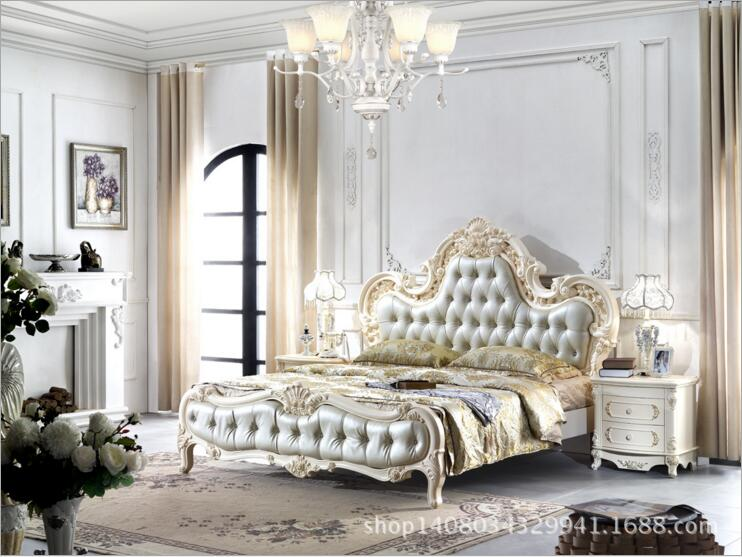 high quality Fashion European French Carved leather bed bedroom furniture 1.8 m d1406high quality Fashion European French Carved leather bed bedroom furniture 1.8 m d1406