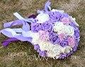 2017 Дешевые Новое Прибытие Свадебный Букет невесты Невесты Белый и Фиолетовый Искусственный Цветок Розы buque де noiva Невесты Букеты