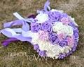 2017 Cheap New Arrival Wedding Bouquet Bridal Bridesmaid White&Purple Artificial Flower Rose Bride Bouquets buque de noiva
