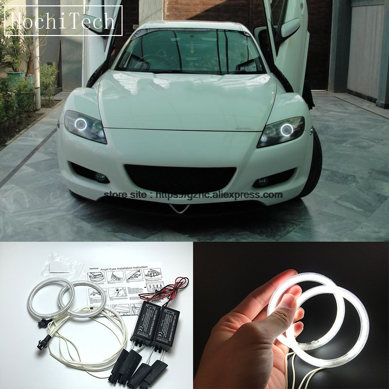 HochiTech For Mazda RX8 Rx-8 2004-08 Ultra Bright Day Light DRL CCFL Angel Eyes Demon Eyes Kit Warm White Halo Ring Car-styling hochitech for mazda cx 7 cx 7 2006 2012 car styling rgb led demon angel eyes kit halo ring day light drl with a remote control