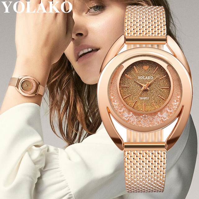 YOLAKO נשים שעונים צמיד חדש קוורץ שעון גבירותיי שעוני יד Relogio Feminino יהלומי Reloj Mujer חם montre femme 533