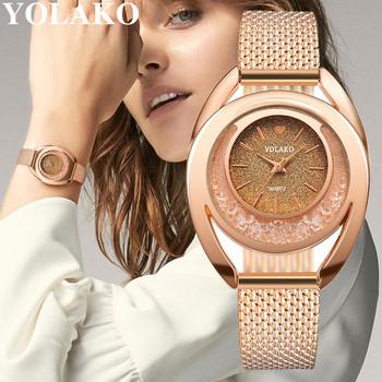 YOLAKO Women Watches Bracelet New Quartz Clock Ladies Wristwatches Relogio Feminino Diamond Reloj Mujer Hot montre femme 533 tanie i dobre opinie Sprzączka CN (pochodzenie) Akrylowe bez wodoodporności simple 18mm ROUND 11mm Brak YOLAKO WATCH bez opakowania Skórzane