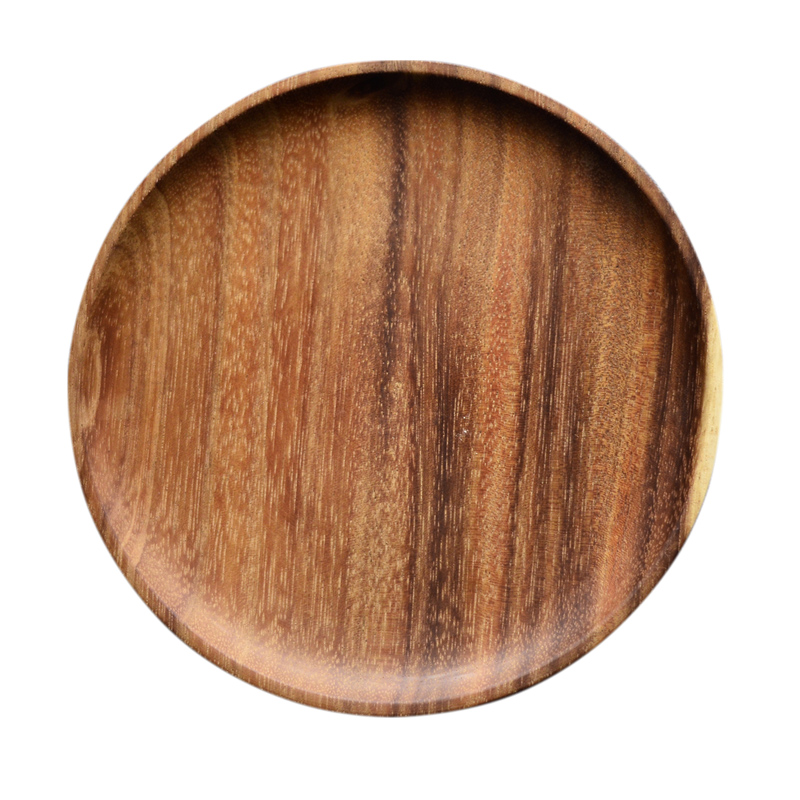 2pcs Round Wooden Plates Set High Quality Acacia Wood Cake Dishes Dessert Serving Tray Wood Sushi Plate Tableware Dinnerware (4)