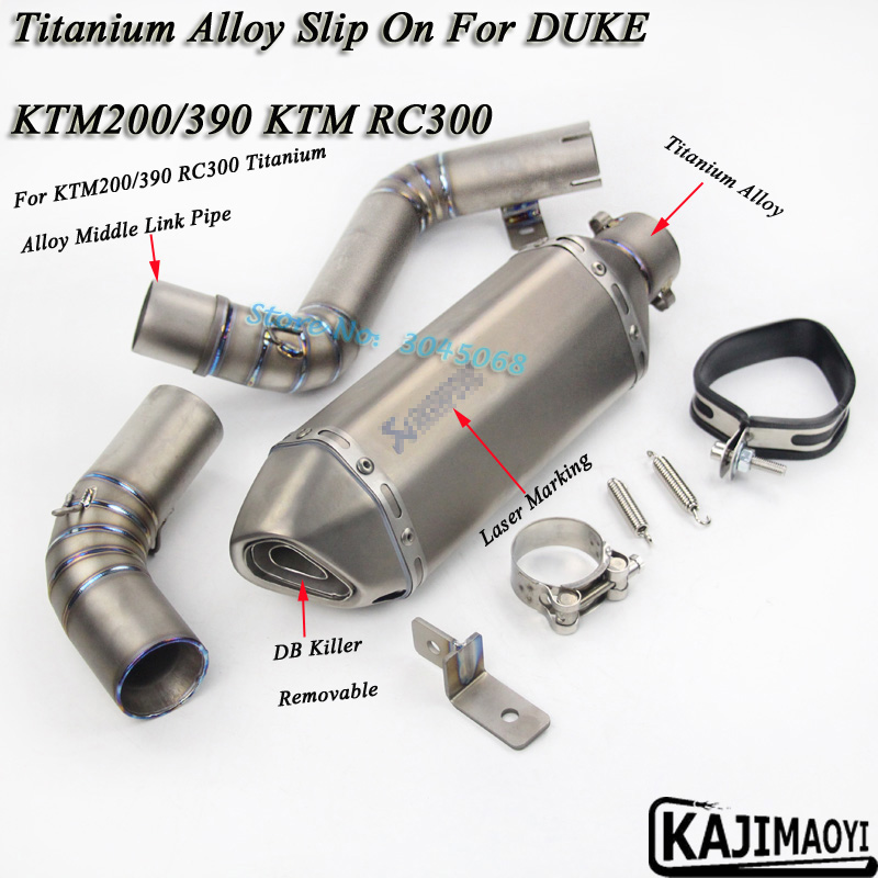 KTM200 390 Slip On Motorcycle Titanium Alloy Exhaust Escape Middle Link Pipe Carbon Fiber Muffler For DUKE KTM 200/390 KTM RC300