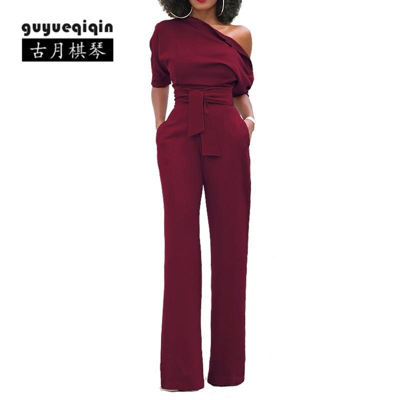 Guyueqiqin 2018 Fashion Spring Women Jumpsuits Romper With Belt 7 Colors Femme One Shoulder Bodycon Tunic Jumpsuit Plus Size 2XL