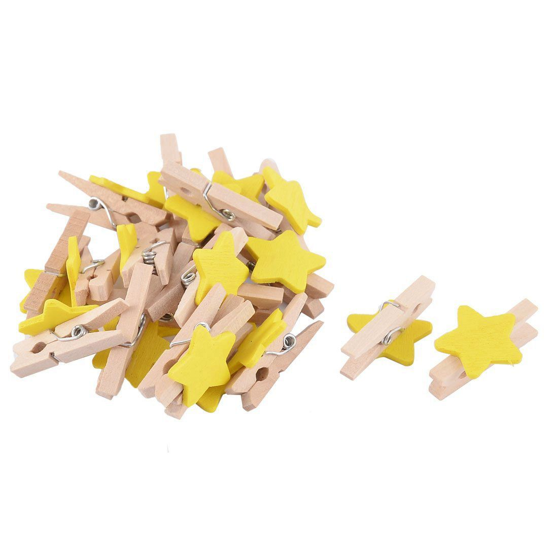 Star Pattern Card Photo Paper Spring Peg Mini Wooden Clip 20pcs Yellow