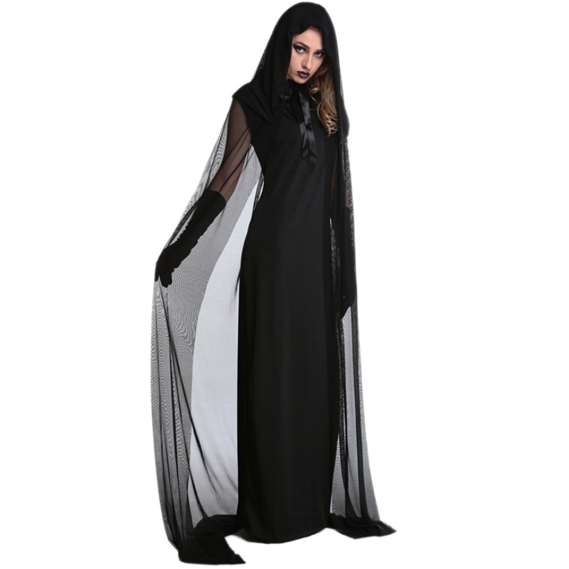 Costumes & Accessories Halloween Evil Witch Cloak Dress With Hat Gloves Women Mesh Elastic Vampire Cosplay Costumes Stage Performance Costume