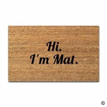 Funny Printed Doormat Entrance Floor Mat Hi. IM Mat. Non-slip 18x30 Machine Washable Non-woven Fabric