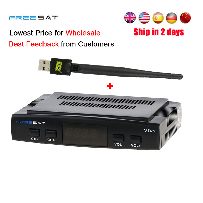 Freesat V7 HD Satellite TV Receiver DVB-S2/S Receptor Support PowerVu Biss Key Clines Newcamd Youporn 3G dongle with USB Wifi de it es channels dvb s s2 satellite fta lines 1 year cccam clines newcamd usb wifi satellite tv receiver for free shipping