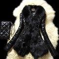Mulheres inverno Falso Casaco De Pele 2016 Moda de pele de Carneiro Casacos De Couro fino Gola de Pele De Raposa de Pelúcia Faux Pele De Raposa do Sobretudo Do Sexo Feminino Outerwear