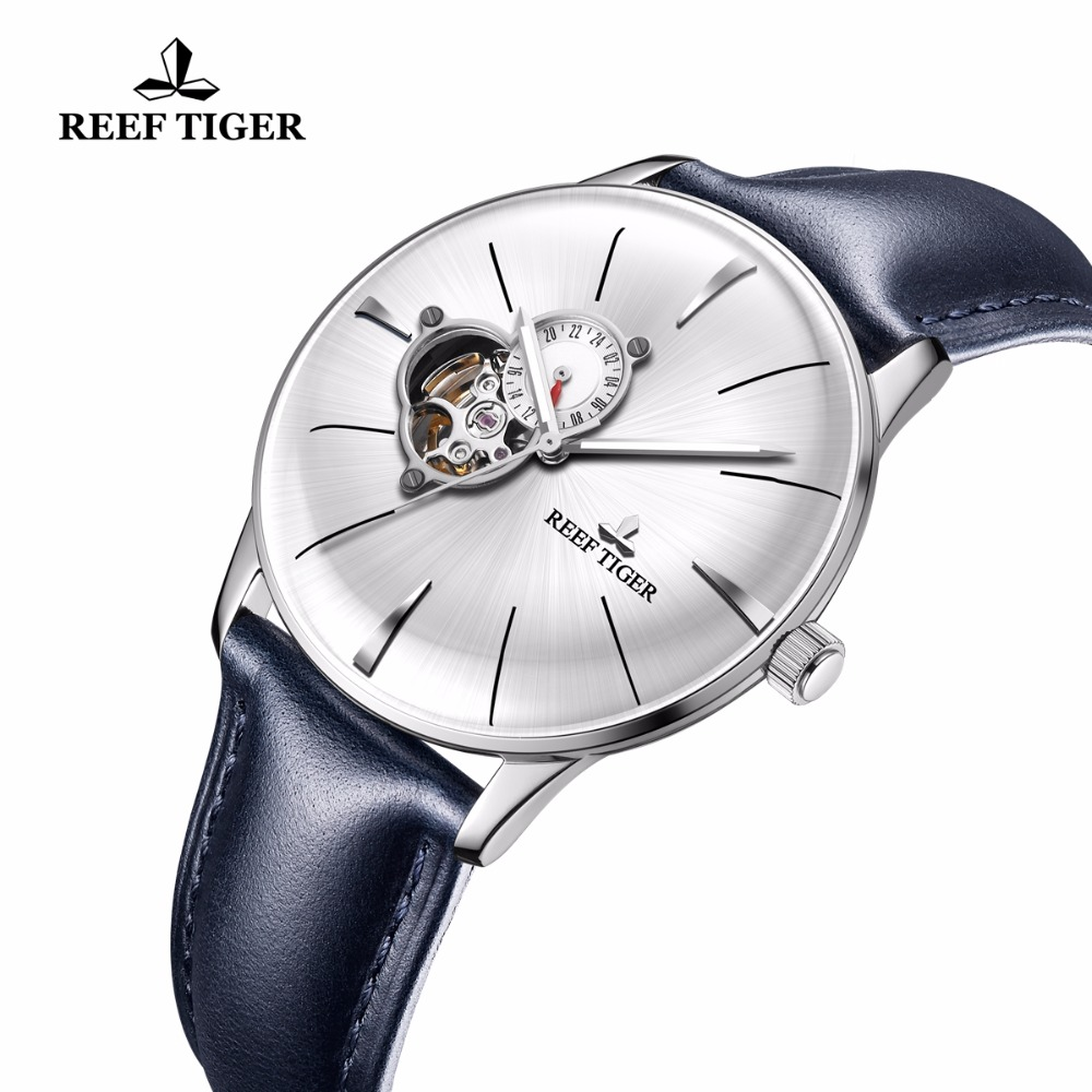 New Reef Tiger RT Dress Watches for Men Blue Leather Steel Watch Convex Lens Glass Tourbillon
