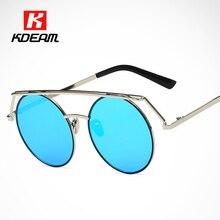 Super Lindo Sombrero de Tapa gafas de Sol Redondas Mujeres Hippie Círculo Marco UV400 Gafas de Sol gafas de sol hombre de la Marina de guerra Con Caja de la marca