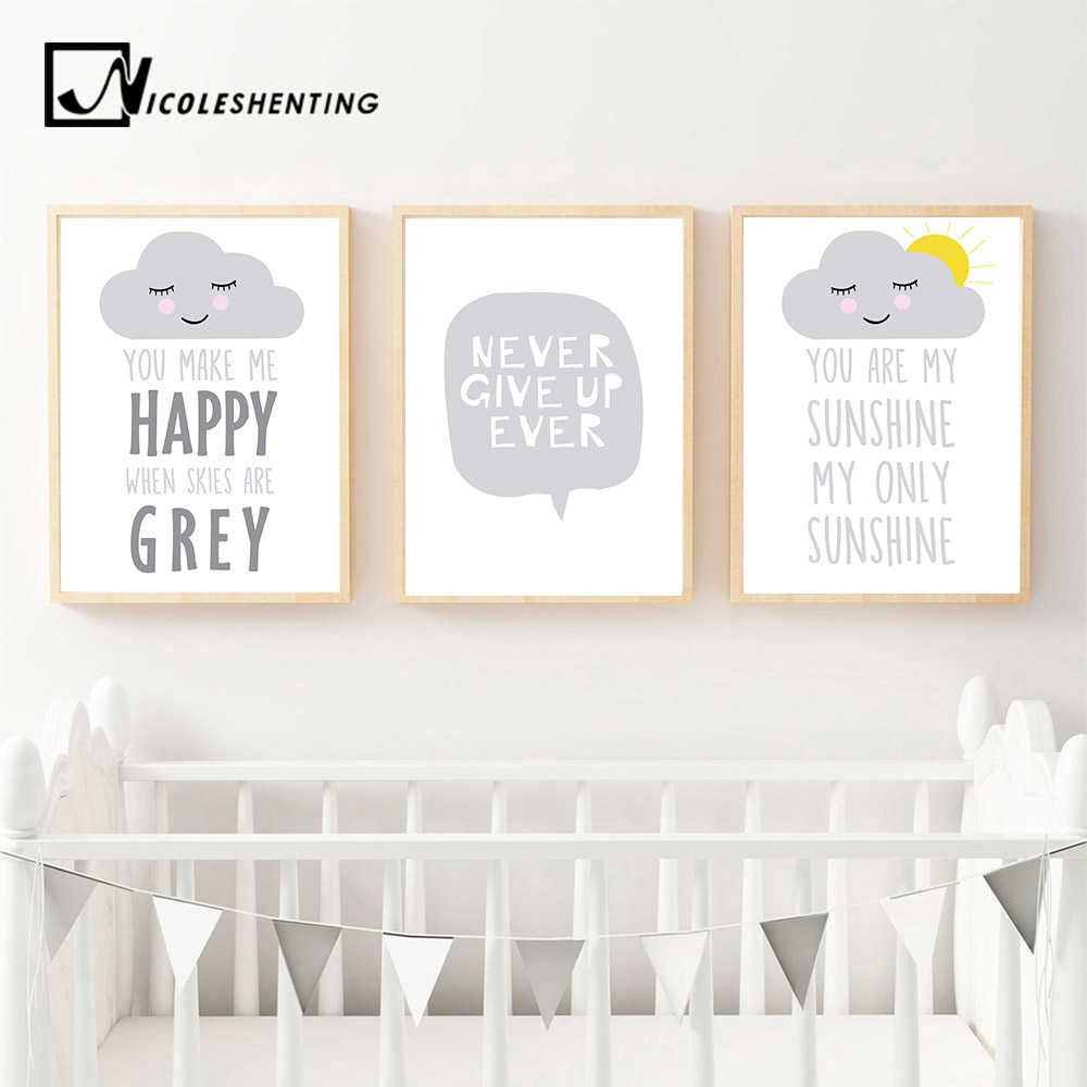 Nursery Quote Wall Art Canvas Poster Cartoon Nordic Style Print Kawaii Painting Wall Pictures Baby Bedroom Decoration
