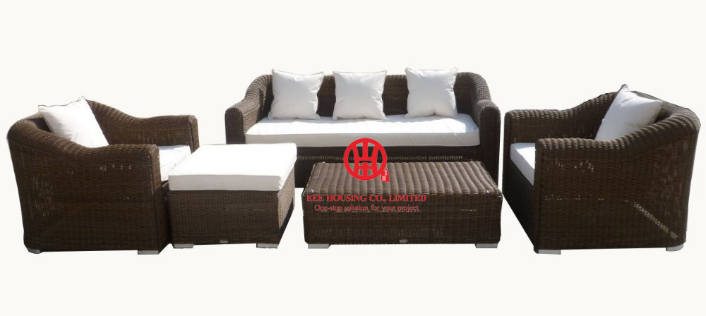 Poly Rattan Garden Lounge Sofa Set,New Design White Wicker Sofa Lounge Furniture