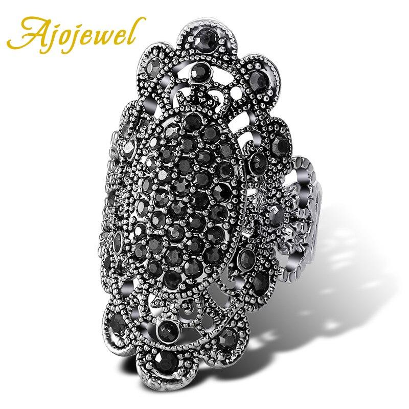 Ajojewel Brand #7-9 Exaggerated Big Retro Black Crystal Rhinestones Women Ring Vintage Jewelry