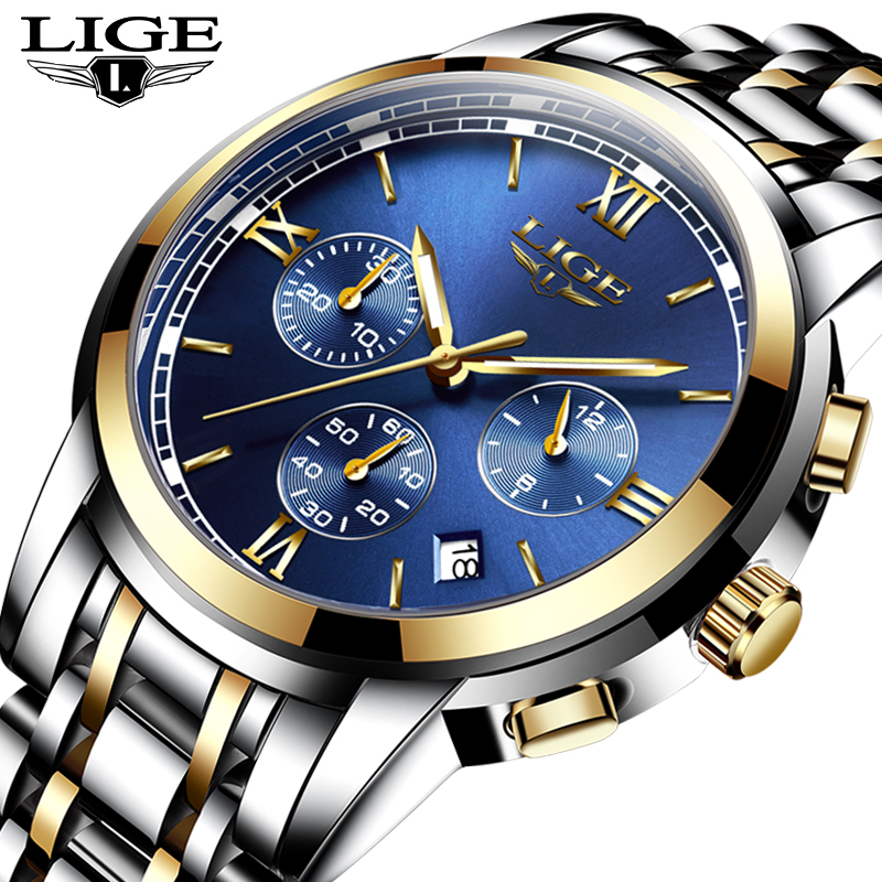 все цены на Luxury Brand LIGE Watches Men Fashion Sport Military Quartz Watch Men Full Steel Business Waterproof Clock Man Relogio Masculino