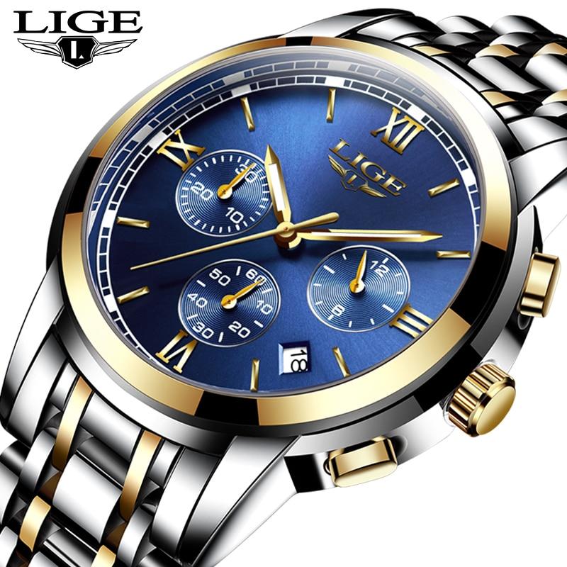 Luxury Brand LIGE Watches Men Fashion Sport Military Quartz Watch Men Full Steel Business Waterproof Clock Man Relogio Masculino