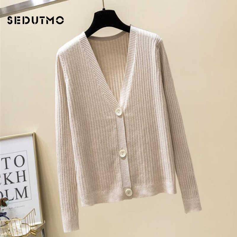 SEDUTMO осенний свитер женский вязаный кардиган свитер оверсайз зима длинный рукав черная Туника короткий топ ED468