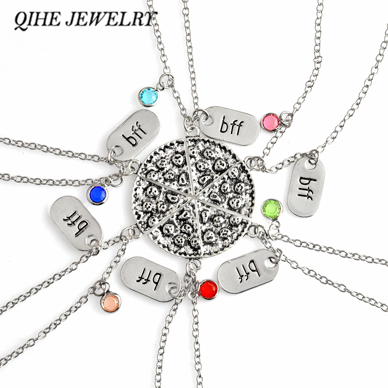 QIHE JEWELRY 6pcs/set Pizza Necklace With <font><b>BFF</b></font> Charm Colorful Rhinestone Best Friends Forever Food Jewelry Gift For Her image