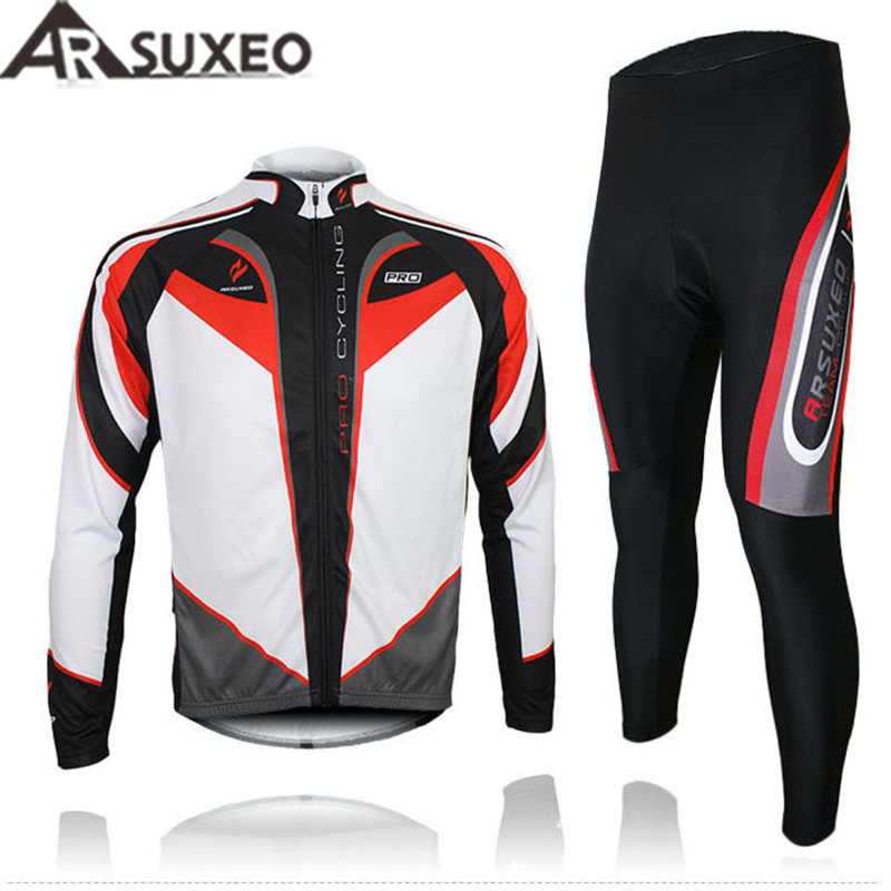2017 ARSUXEO Mens Cycling bike Bicycle Long Sleeves Jersey shirts pants wear suits Uniforms top 3D BIB PADDED C arsuxeo ar14 a men s cycling breathable warm long jersey top padded pants set black blue xl