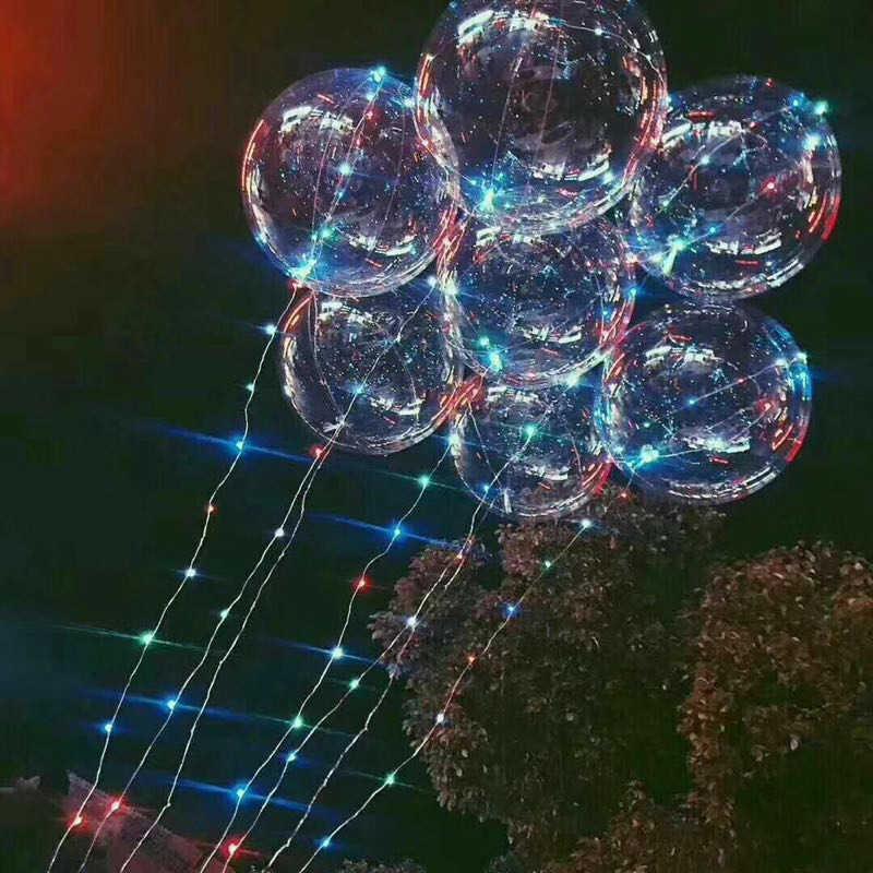 10 Uds 20 pulgadas globo luminoso Led 3M globo con luz Led cadena luces burbuja helio globos de juguete para niños decoración de fiesta de boda