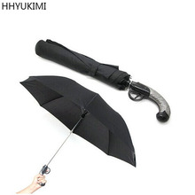 Фотография HHYUKIMI Automatic Travel Pistol Gun Shape Flintlock Weapon Anti-UV Parasol Windproof Folding Umbrellas Strong Canopy Umbrella