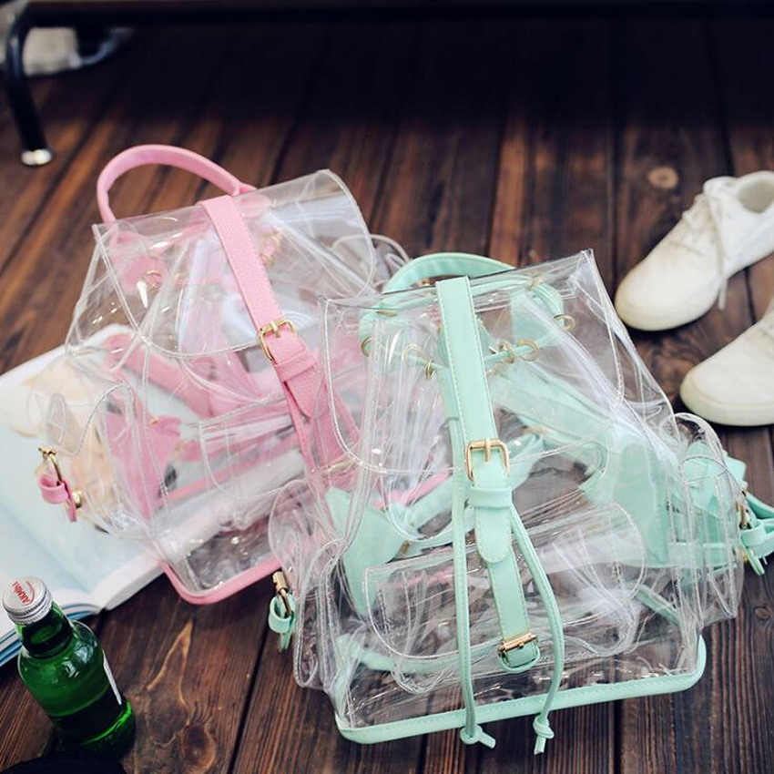 LIXUN Summer Large Capacity Beach Bags For Travels Women Clear Bag PVC Backpacks Ladies School Bags For Teenager Girls Mochila