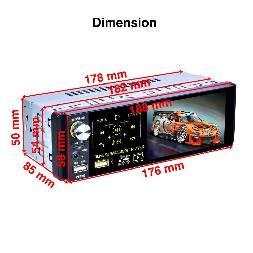 """Hikity Autoradio1 din Radio samochodowe 4.1 """"Cal z ekranem dotykowym samochodowe stereo Multimedia odtwarzacz MP5 Bluetooth RDS podwójna obsługa usb Micphone"""
