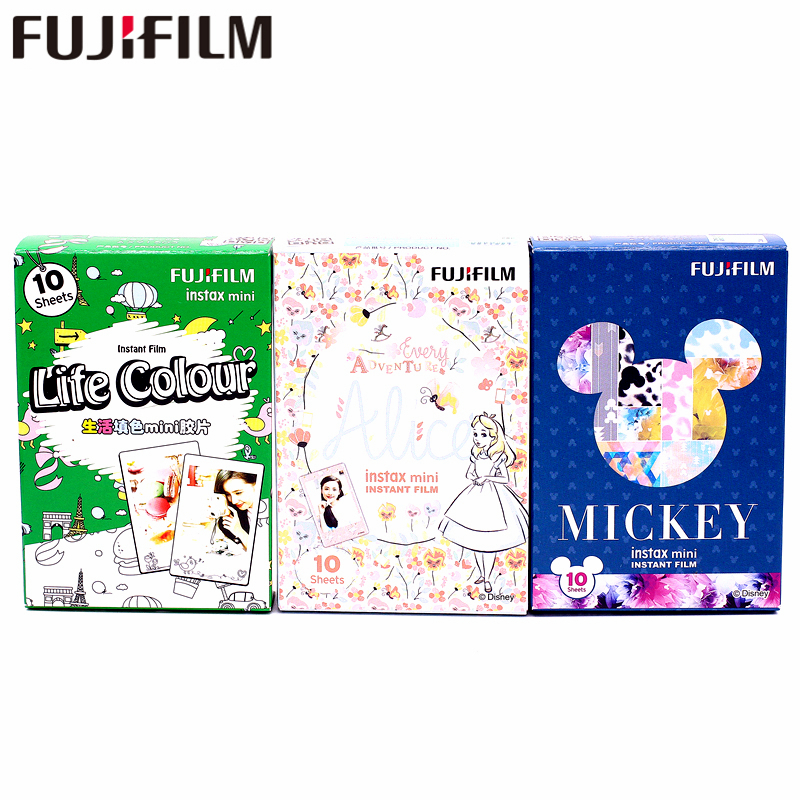 Fujifilm 30 Sheets life color Alice and Mickey Film For Fuji Instax Mini 7 8 9 50s 7s 90 25 Share SP-1 SP-2 Instant Cameras original fujifilm fuji instax mini monochrome film 10 sheets for mini 9 8 50s 7s 90 25 instant cameras share sp 1 sp 2 printers