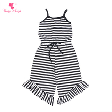 Kaiya Angel Hot Toddler Kids Romper Black and white Striped Cotton Newborn Baby Girl Summer Autumn Clothes Factory Wholesale