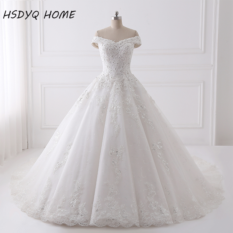 Beading Wedding Dresses Real Photo Appliques Lace Up Back Bridal Dress Ball Gown Long Wedding Gown
