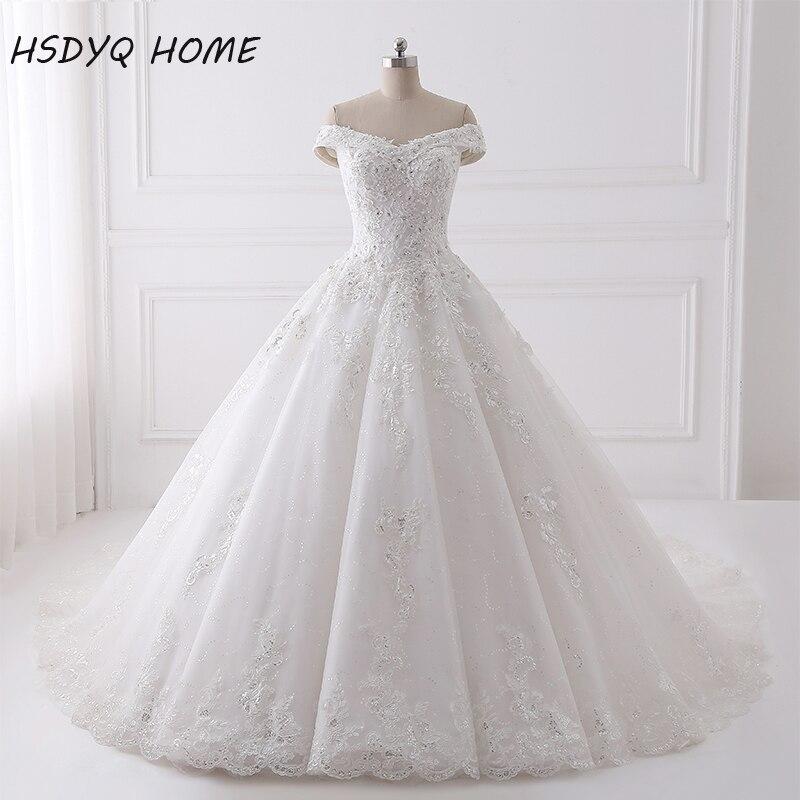 Luxury Beading Wedding dresses Real Photo Appliques Lace up lại giá rẻ Bridal Gown ăn mặc Bóng Dài Wedding Gown