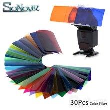 30pcs Flash Speedlite filtri gel colorati per Canon Godox Yongnuo fotocamera gel fotografici filtro Flash Speedlite Speedlight
