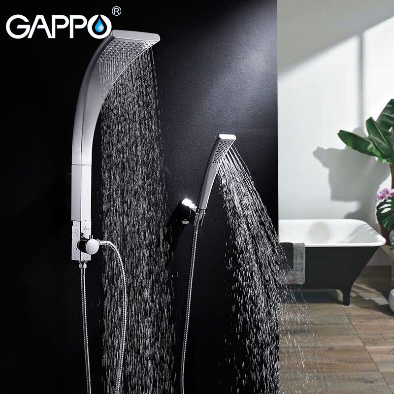 GAPPO bathroom shower faucet rain Waterfall wall bath shower tap bathtub mixer shower head ABS Panel Sanitary Ware Suite GA2414 free shipping polished chrome finish new wall mounted waterfall bathroom bathtub handheld shower tap mixer faucet yt 5333