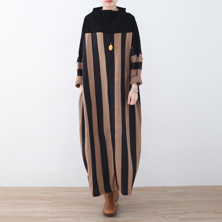 Woman's Fashion 2017 Winter Dress Women T-shirt Dresses Striped Long Sleeve Knitted Maxi Dress With Pockets Plus Size Vestidos plus size double pockets striped dress
