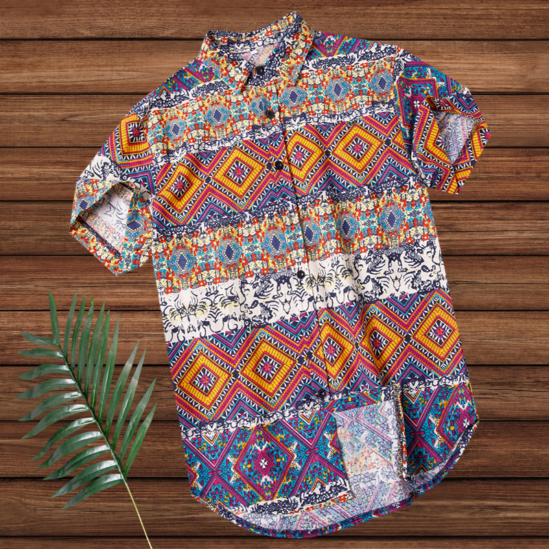 2019 Amazon Aliexpress Best Selling Short-sleeved Shirt Men's Casual Loose Cotton Beach Hawaiian Men's Fashion Shirt.(China)