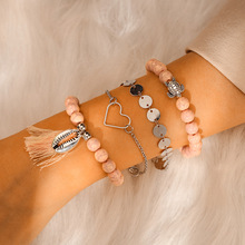 Ubuhle Turtle Shell Beads Bracelet Crystal Marble Charm Bracelets for Women Boho Tassel Hand Jewelry Gifts Lover