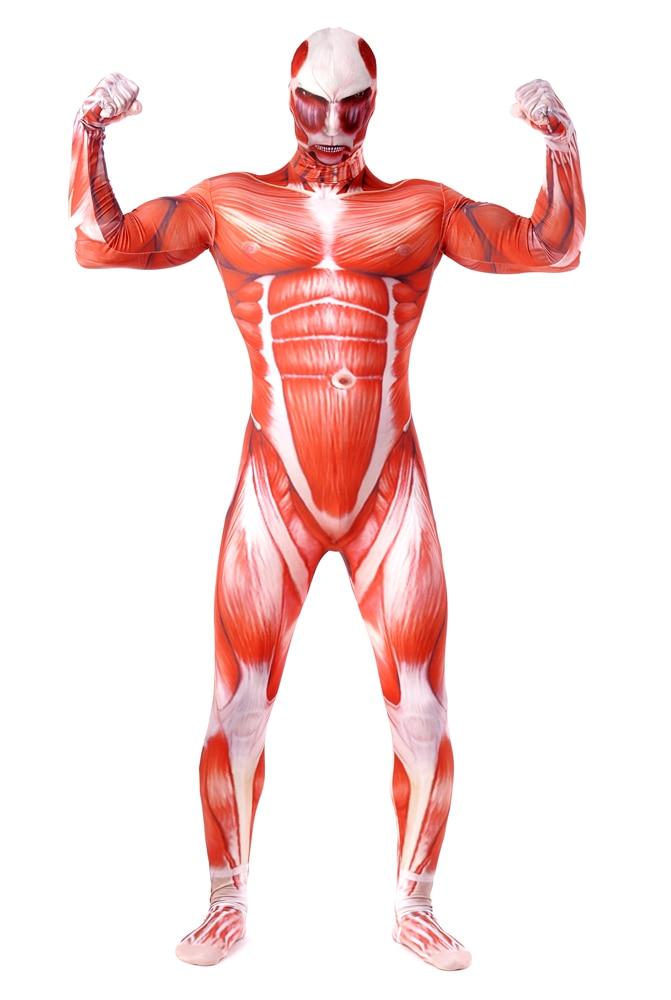 Attack On Titan 3 Cosplay Costume Muscle Zentai Muscular Suit Bodysuit Bertolt Hoover Lycra Zentai Halloween Costume