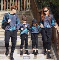 Thời trang 3D T-Shirt gia đình phù hợp với quần áo Boy Girl T-Shirt Gia Đình Phù Hợp Với Trang Phục Kid Child Không Gian Thiên Hà Quần Áo