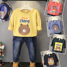 Children into the boy girl leisure jacket with long sleeves cartoon loose t-shirts, fleece the new during the spring and autumn