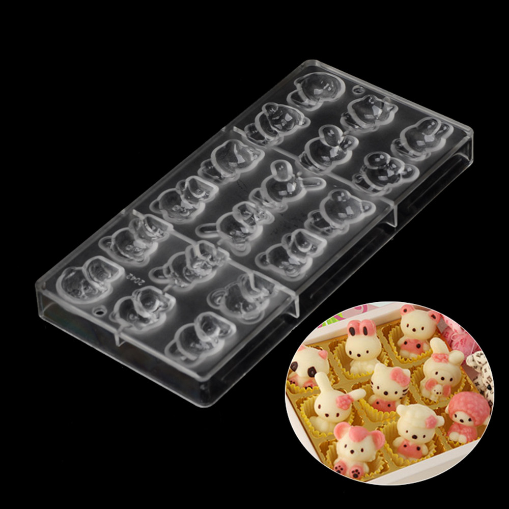 New arrival food grade pc plastic cartoon hot chocolate mold wholesale christmas wedding cartoon chocolate baking