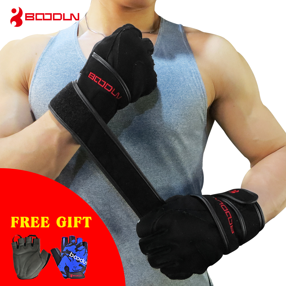 Hompo Ladies Gloves Bodybuilding Fitness Weight Lifting: BOODUN Genuine Black Leather Wrist Fitness Gloves Gym Men