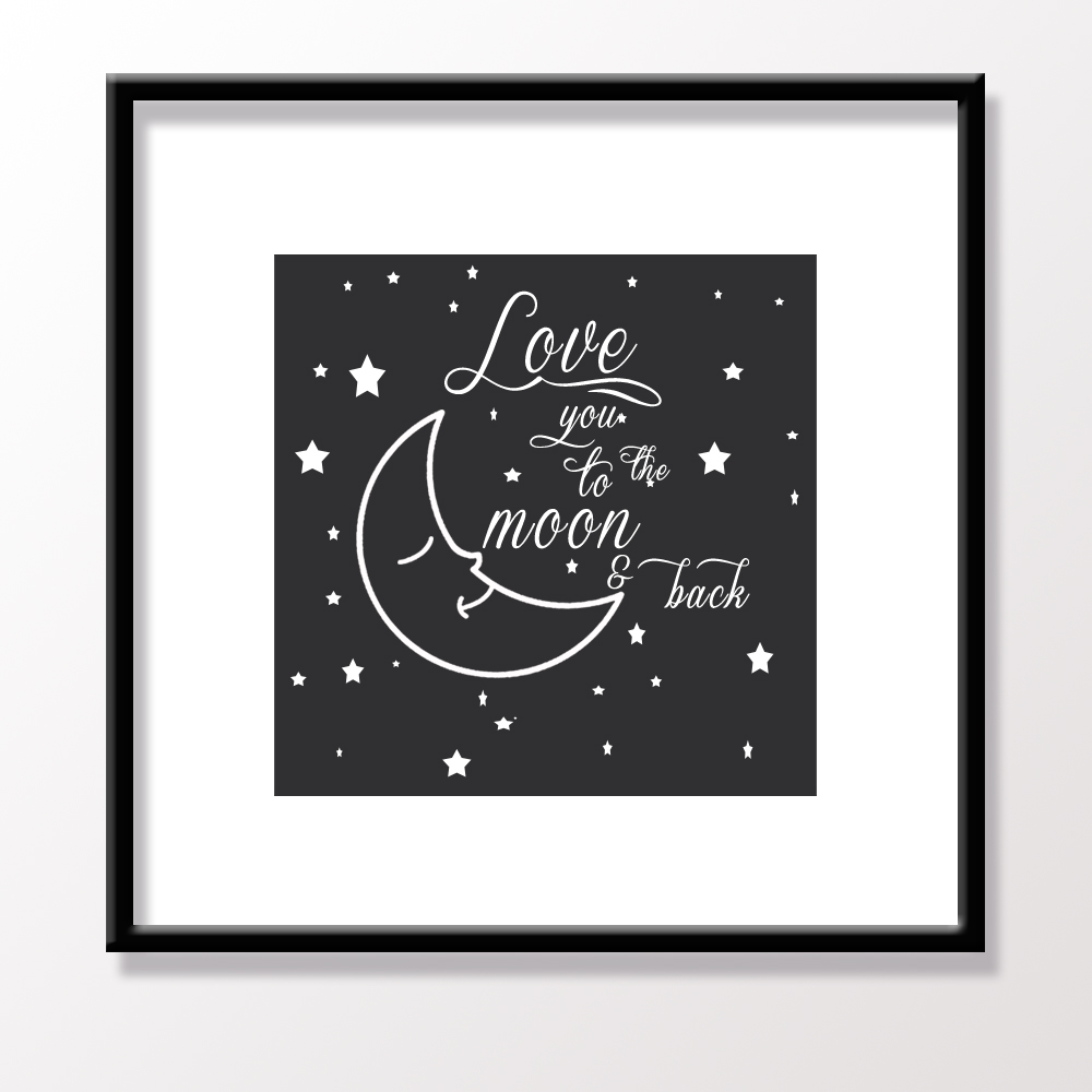 Color printing quotes - Canvas Art Print Love Quote Love To The Moon And Back Wedding Gift Poster Unframe Modern