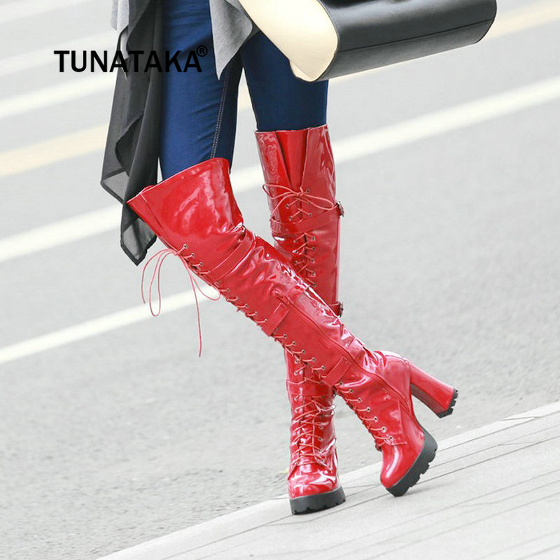 Womens Fashion Over The Knee Boots Chunky High Heel Thigh Boots Sexy Patent Leather Platform Zip Lace Up Winter Warm Shoes