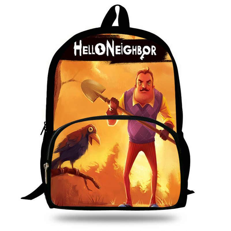 9e1e49671d4a 2018 Newest Mochila School Backpack Hello Neighbor Funny Game Printing  Children School Bags Boys Teenage Girls