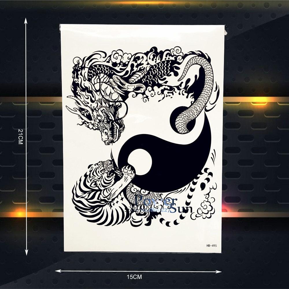tai chi designs temporary tattoo black totem tattoo dragon tiger pattern fake body art arm. Black Bedroom Furniture Sets. Home Design Ideas