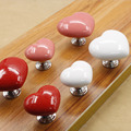 Colorful Love Heart Shape Ceramic Cabinet Knobs Cupboard Dresser Drawer Door Furniture Pull Handle With Screws