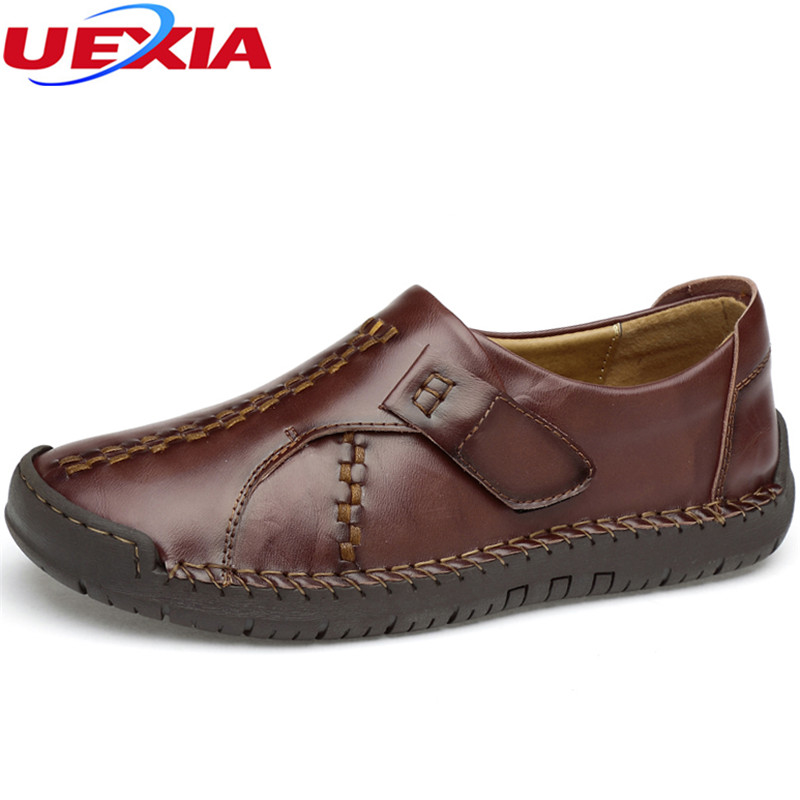UEXIA Handmade Sneakers Men Casual Shoes Leather Breathable Men Boat Shoes New Fashion Leisure Slip-On Walking Shoes For Male bimuduiyu new england style men s carrefour flat casual shoes minimalist breathable soft leisure men lazy drivng walking loafer