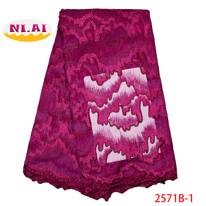 Newest African Lace African Lace Tulle Lace Fabric For Bride French Lace Fushia Pink Fabric MR2571B