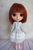 Outfit White Doll Pullip Handmade Azone Dot Dress [Wamami] Cute Blyth